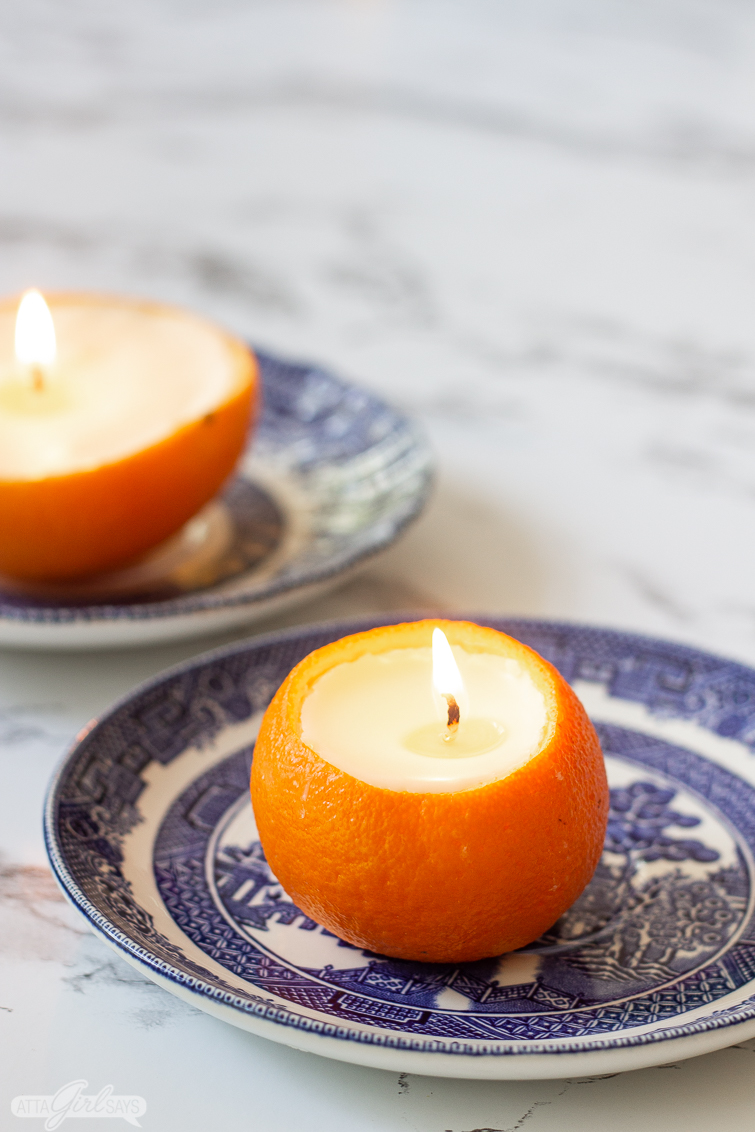 Orange Scented Candles In Rinds Look Smell Pretty For Fall