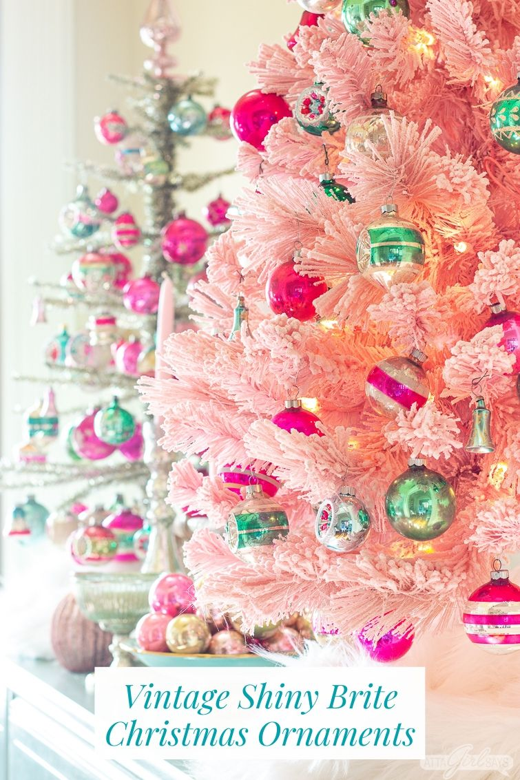 Pink Christmas Tree Decorated With Vintage Shiny Brite Ornaments