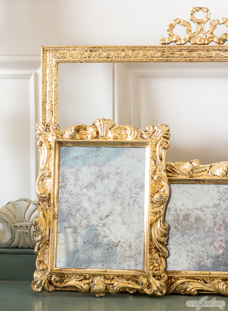Diy Mercury Glass Gilded Mirror Made From Old Photo Frames