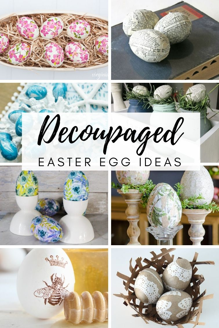 Decoupage Easter Eggs Decorated With Napkins Paper Other Items